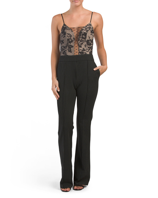 Made In USA Pinstriped Lace Jumpsuit