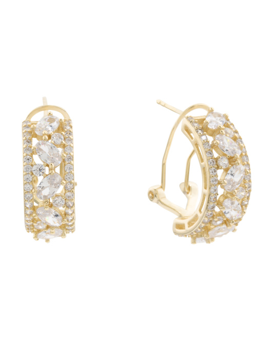 14k Gold Plated CZ Huggie Earrings