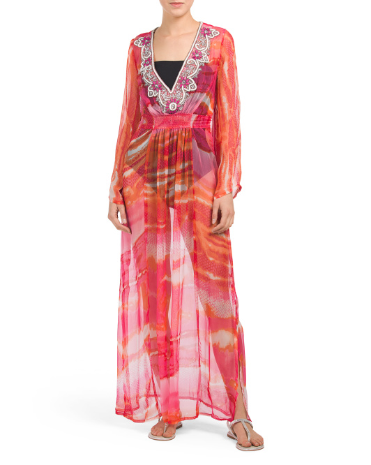 Hand Dyed Silk Beaded Maxi Cover-up
