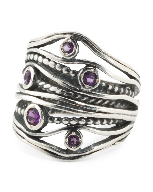 Made In Israel Sterling Silver Amethyst Multi Row Ring