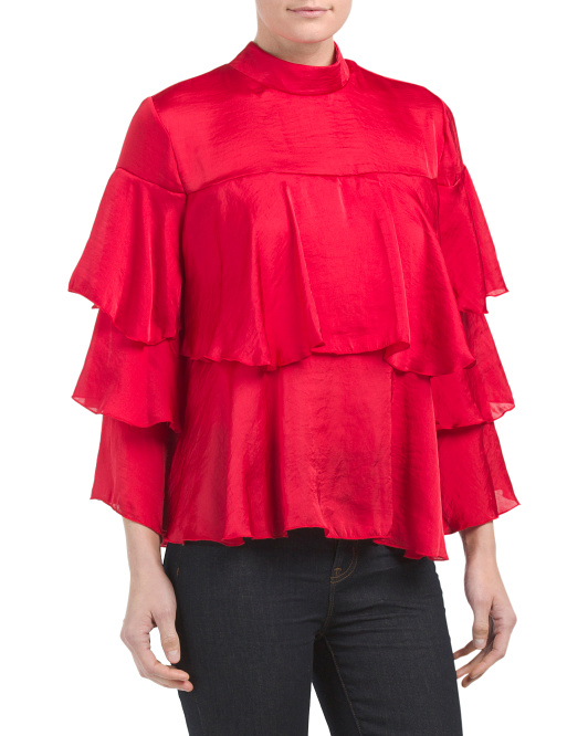 Made In USA Tiered Ruffle Top