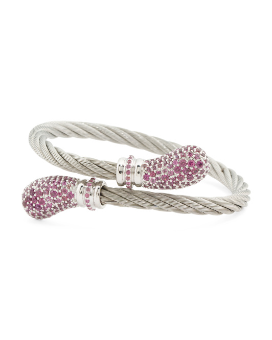 Stainless Steel Cable And Rhodolite Lady Bypass Bracelet