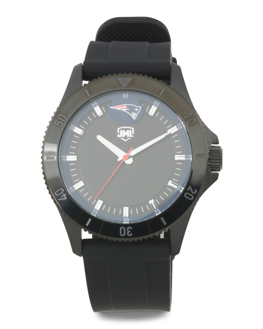 Men's New England Patriots Blackout Silicone Strap Watch