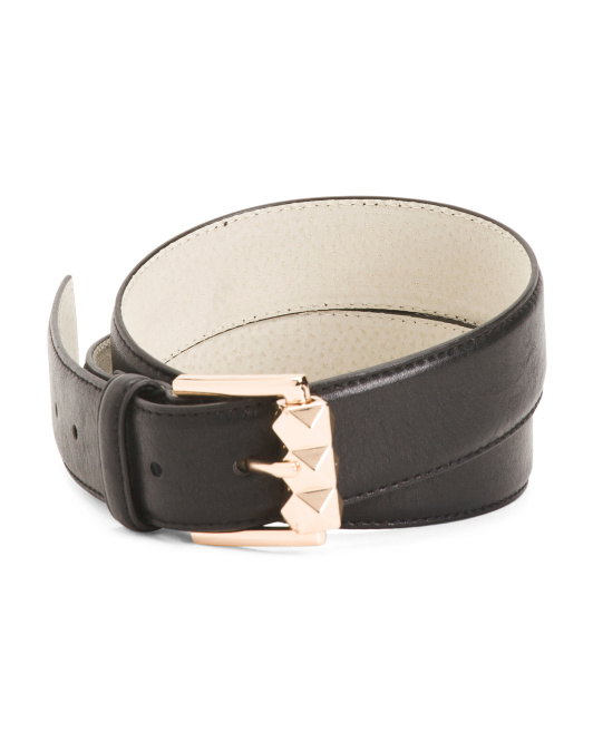 Sculpted Roller Buckle Leather Belt