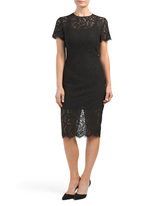 Short Sleeve Sheer Lace Dress