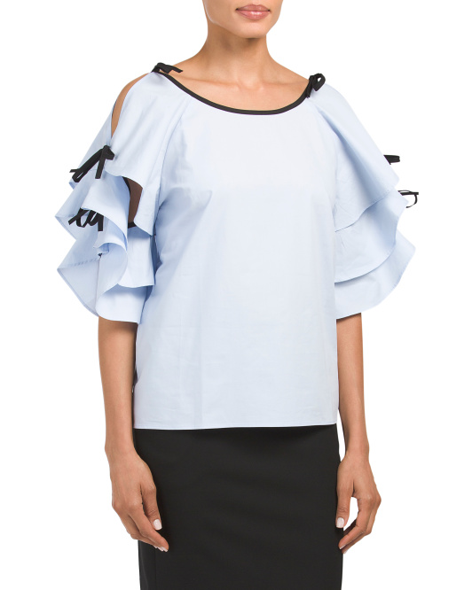 Tiered Split Tie Sleeve Poplin Top