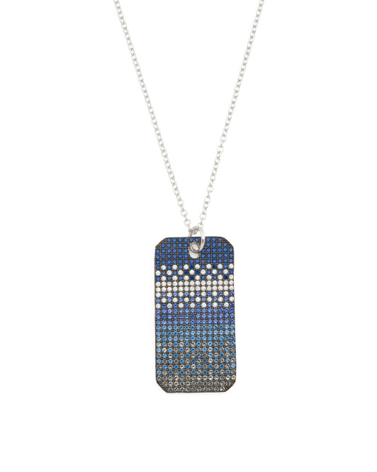 Sterling Silver Blue Ombre Cubic Zirconia Dog Tag Necklace