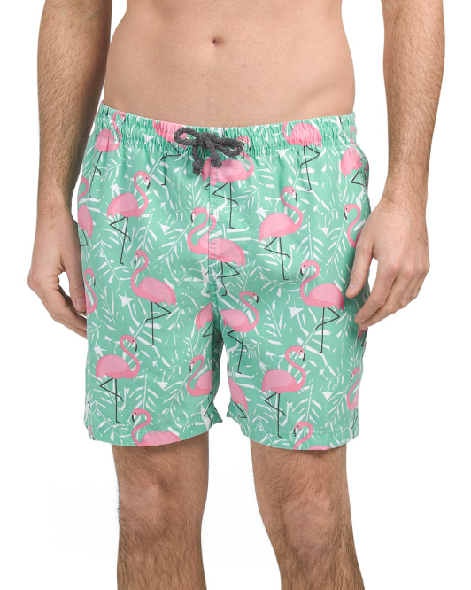 Exploded Flamingo Swim Trunks