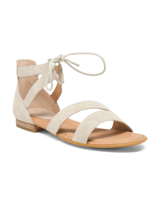 Casmsa Wrap Ankle Leather Sandals