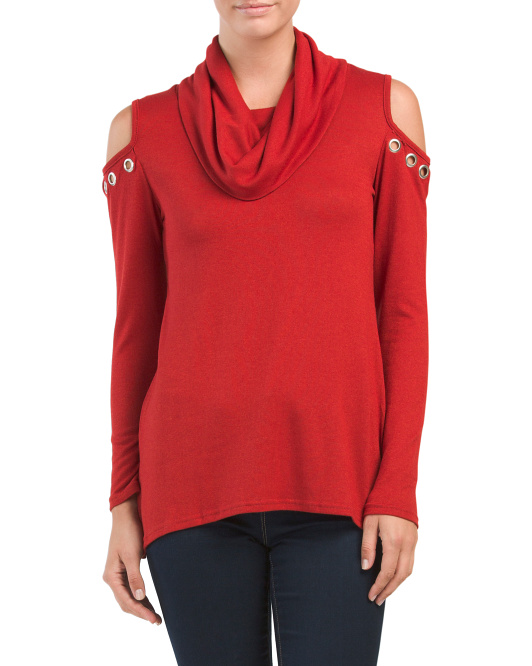 Cold Shoulder Grommet Blouse