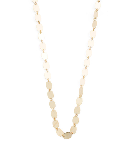 Made Italy 14k Gold Graduated Mirror Chain Choker Necklace