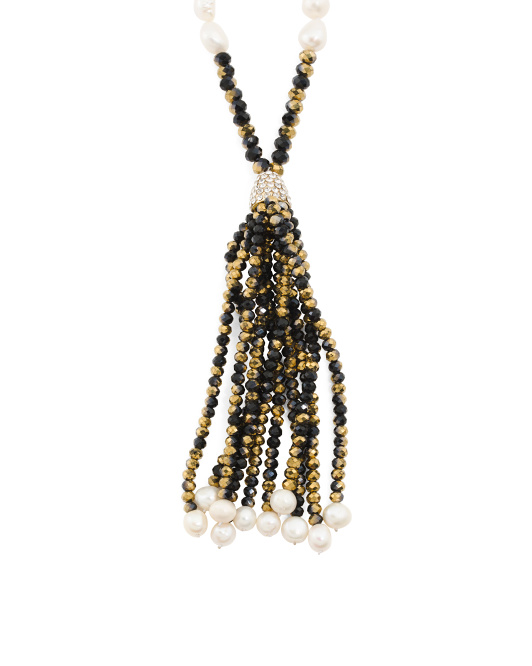 Crystal And Pearl Tassel Necklace