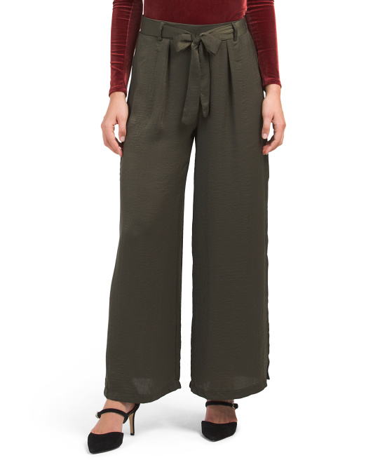 Juniors Tie Waist Satin Pants
