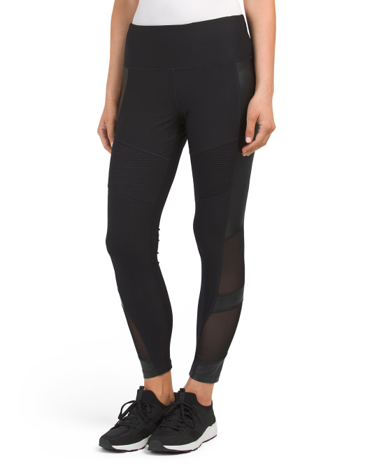 Faux Leather And Power Mesh Leggings