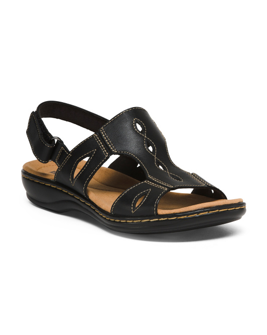 Wide Leather H Band Sandals