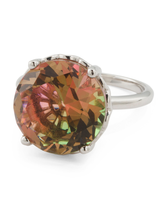 Sterling Silver Watermelon Tourmaline Cubic Zirconia Statement Ring