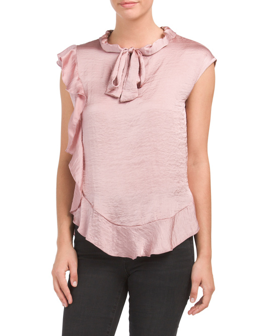 Made In USA Ruffle Tie Front Top