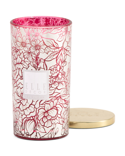 16oz Metallic Floral Glass Candle