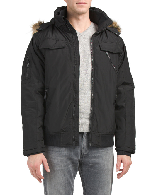 Short Parka With Detachable Collar