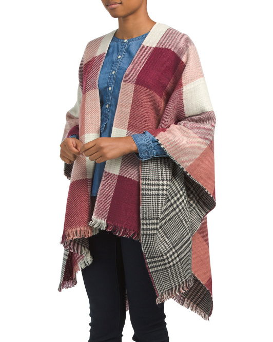 Reversible Plaid Ruana