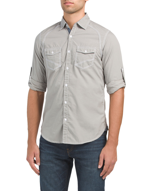 Contrast Stitching Woven Shirt