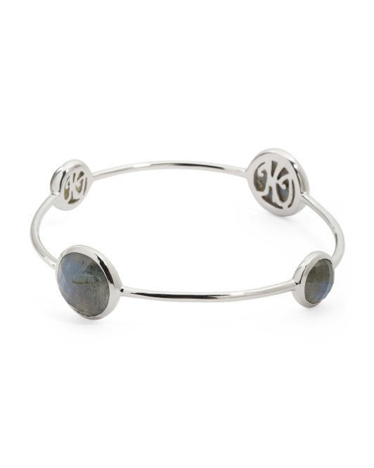 Made In India Sterling Silver Labradorite Bangle Bracelet