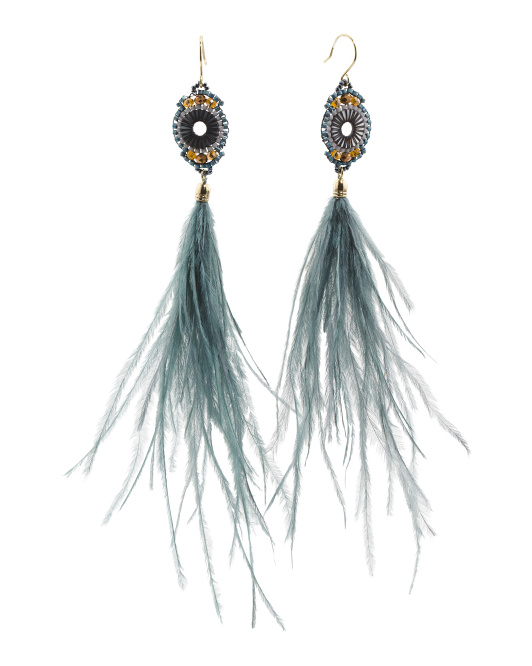 Ostrich Feather Linear Earrings