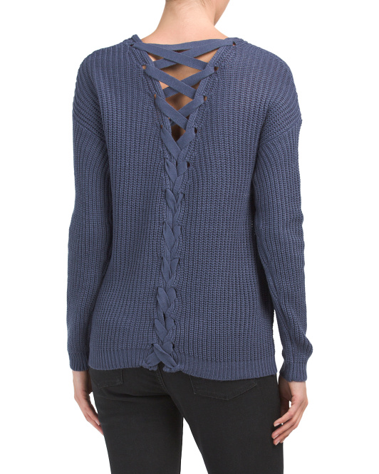 Juniors Lace Up Back Sweater