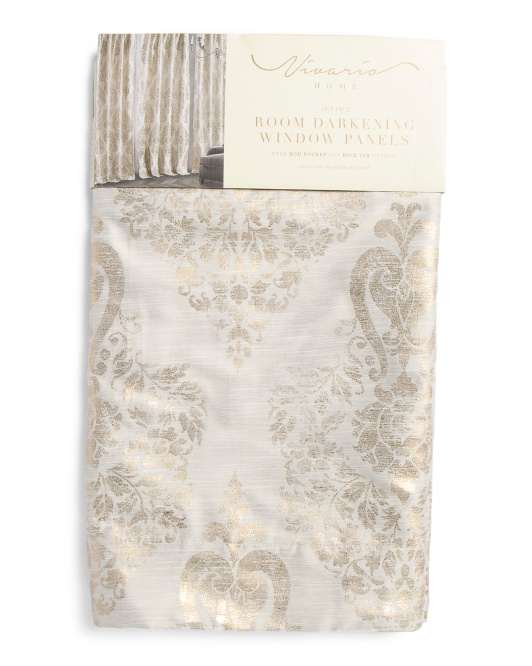 Set Of 2 Faux Silk Curtains