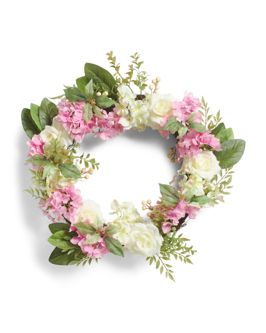 24in Faux Hydrangea And Rose Wreath