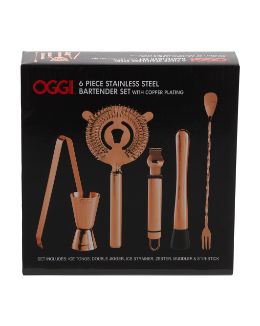 6pc Copper Plated Stainless Steel Bar Set