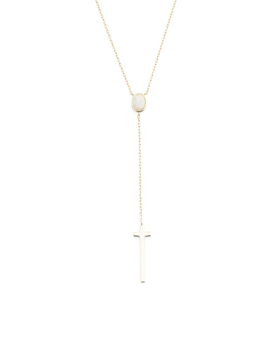 Gold Plated Sterling Silver Opal Cross Lariat Necklace