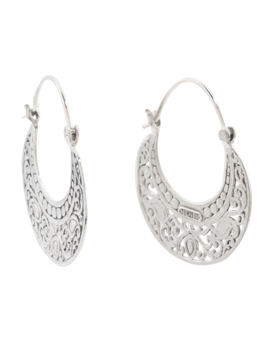 Made In Bali Sterling Silver Filigree Shield Hoop Earrings