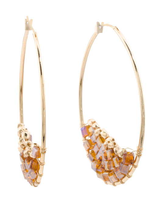 Crystal Cluster Embellished Hoop Earrings