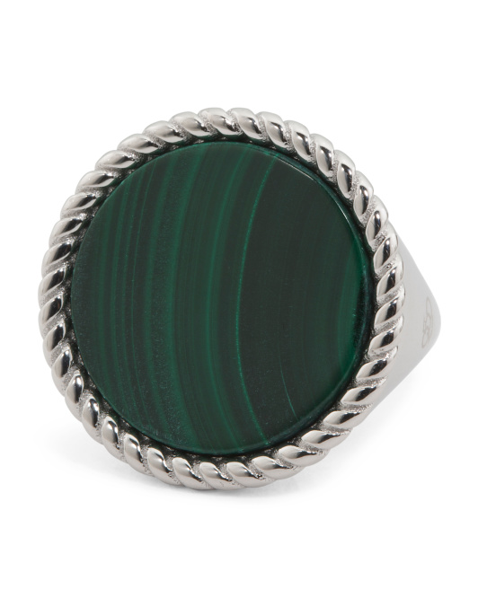 Made In Italy 950 Sterling Silver Malachite Ring