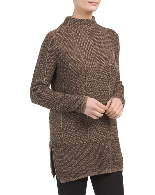 Mock Neck Sweater With Side Slits