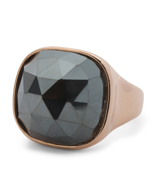 Made In Italy Hematite Faceted Cabochon Ring
