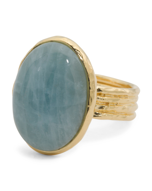Made In Italy Milky Aquamarine 4 Row Hammered Shank Ring