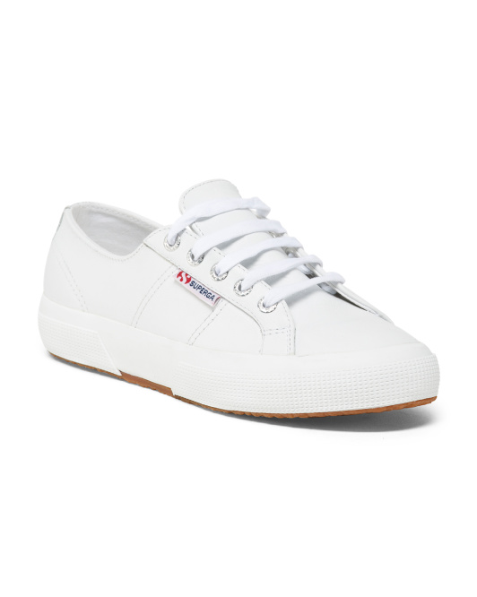 Low Profile Laced Leather Sneakers