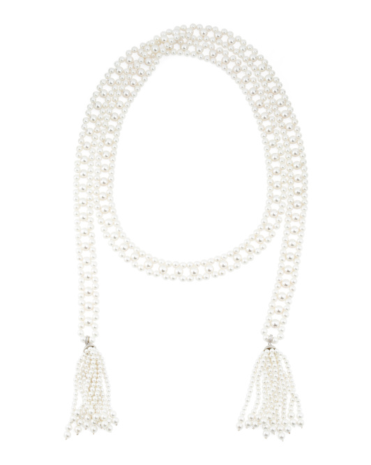 Pearl And Cubic Zirconia Fringe Lariat Necklace
