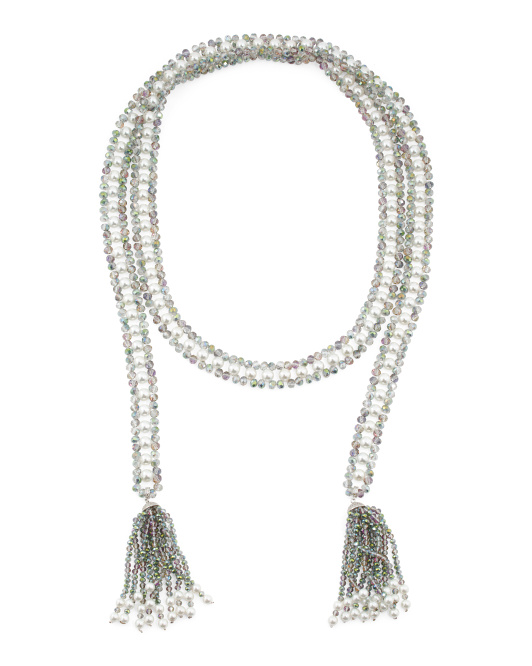 Ab Crystal Pearl And Cubic Zirconia Fringe Lariat Necklace