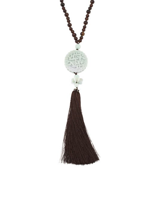 Jade And Glass Bead Tassel Necklace