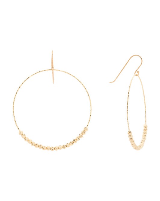 Made In India 18k Gold Plated Sterling Silver Drop Hoop Earrings