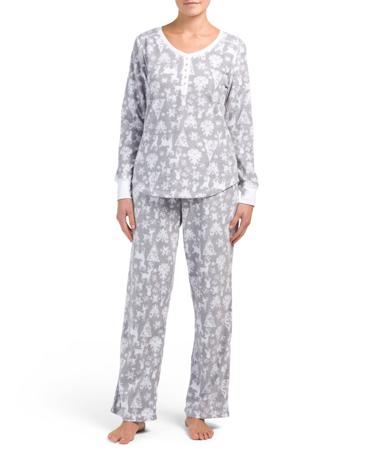 Deer Printed Henley Top Pajama Set