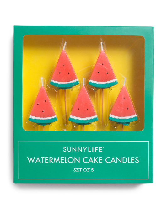 Set Of 5 Watermelon Cake Candles