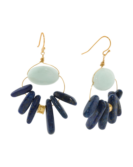 Handmade In USA Lapis And Amazonite Chandelier Earrings