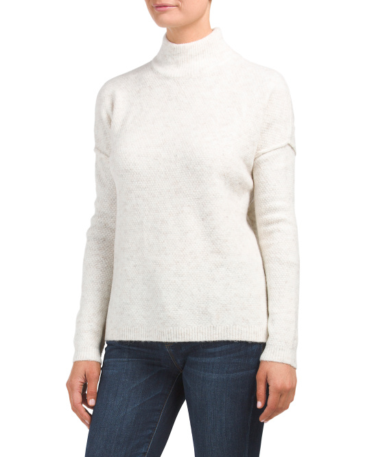 Juniors Mock Neck Hi-lo Sweater