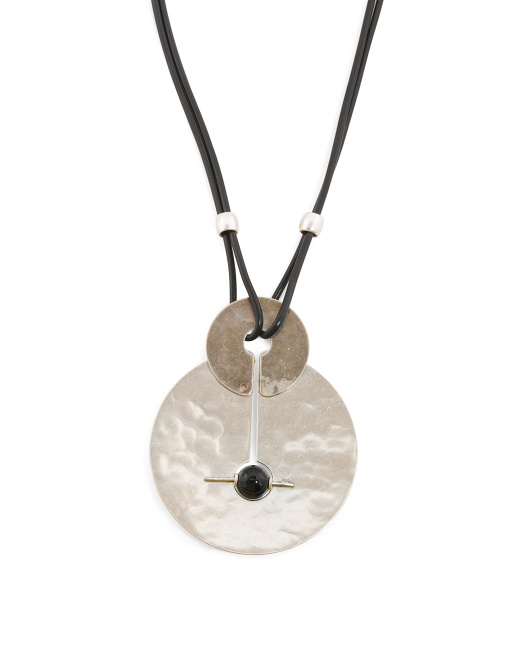 Handmade In USA Onyx Silver Plated Brass Necklace