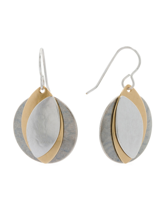 Handmade In USA Tri Tone Disc Earrings