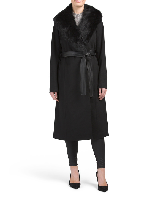 Natasha Wool Coat With Faux Fur